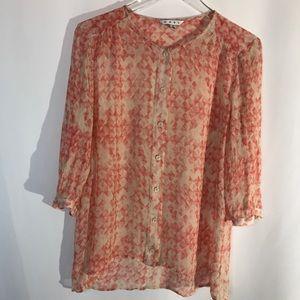 Cabi Coral Long Sleeved Sheer Silk Top Medium